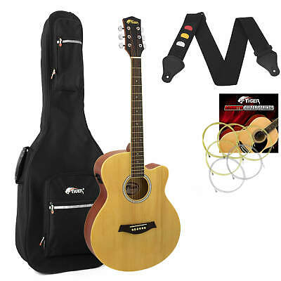 Tiger Natural Electro Acoustic Guitar Package with Padded Bag