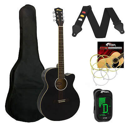 Tiger Black Acoustic Guitar Pack for Students - Including FREE Tuner