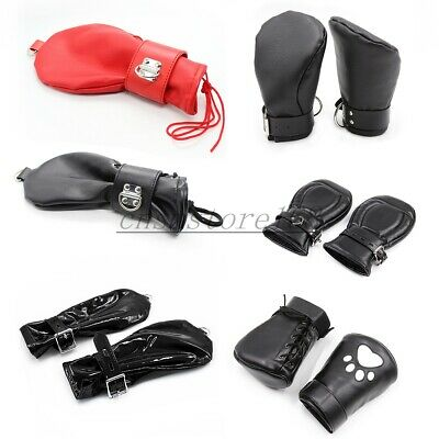 Soft 1 Pair Padded Lined Fist Mitts Faux Leather Puppy Dog Paws Restraint Gloves
