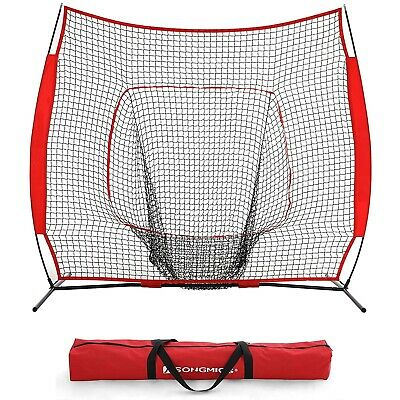 Baseball and Softball Practice Net 7 x 7ft Practice Hitting, Pitching, Batting