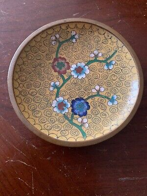 Chinese cloisonné vintage Victorian oriental antique small round dish plate.