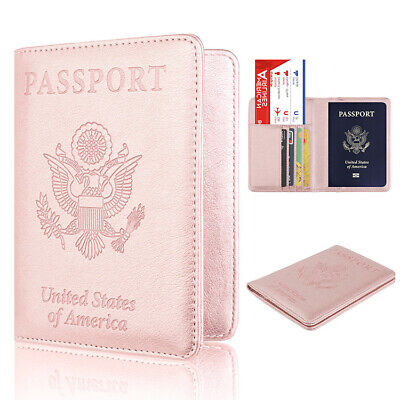 USA Slim Leather Travel Passport Wallet Holder RFID Blocking ID Card Case Cover