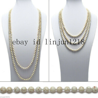"""Genuine White Turquoise 48"""" Long 8mm 10mm Bead Stranded Necklace AAA+"""