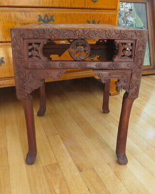 Antique Chinese hand carved rose wood marble top table
