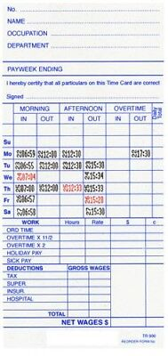 Employee Weekly Time Cards TR-900 (250) Cards