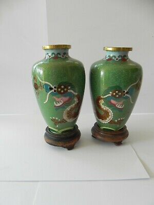 Pair Of Vintage Oriental Cloisonne Enamel And Brass Vases With Dragons 10Cm Tall