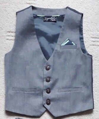 EXCELLENT age 2-3 years NEXT SIGNATURE boys grey smart formal waistcoat wedding