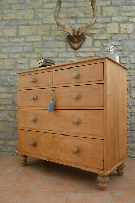 Superb Large Victorian Antique Pine Chest Of Drawers