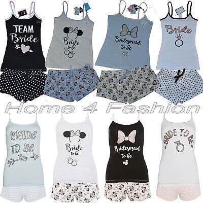 Primark Disney Bride To Be Pyjamas Women Bride Vest Shorts Ladies Hen Party PJ'S
