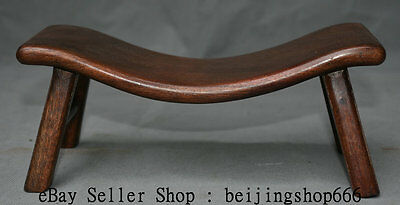 "10"" Old Chinese Huanghuali Wood Dynasty Natural Lines Stool Footstool Decoration"