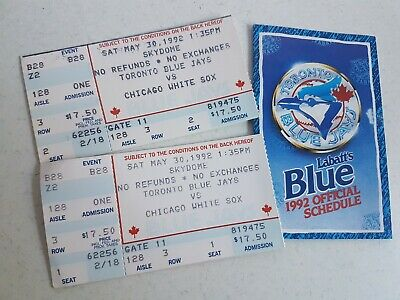 Toronto Blue Jays 1992 Official Schedule and Ticket Stubs Vs Chicago White Sox