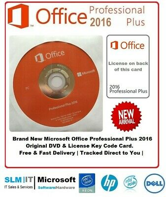 Microsoft Office 2016 Professional Pro Plus 32/64Bit Card & DVD 1 PC - Windows