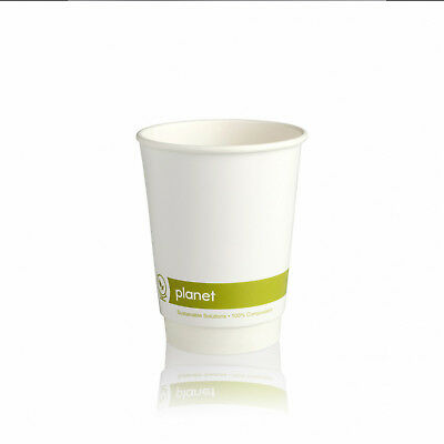 100 x 8oz White Biodegradable & Compostable Double Wall Paper Cups with PLA Lids