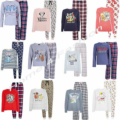 Primark Ladies Pyjamas Disney Women's Pajama Full Sleeve Girls T Shirt PJ's NEW