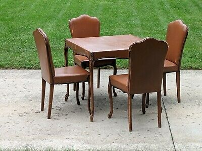 Modernist French Style ladies Game dining Table with 4 chairs Petite Sleek