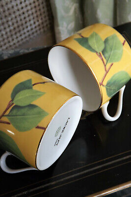 Laure Japy French Limoges ~ A Pair Of Tea / Coffee Cups ~ Yellow Branches Design
