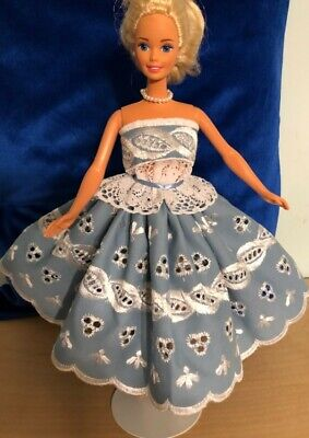 Barbie Doll Fancy Clothes - 2 Pc Party Dress - Wedgwood Blue White Embroidery