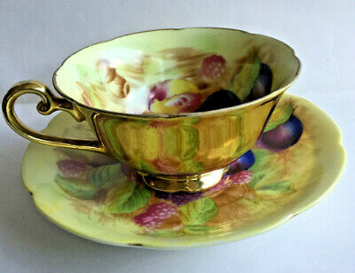 Made in Occupied Japan Orchard Gold Fruits and Gold Cup and Saucer - Handpainted
