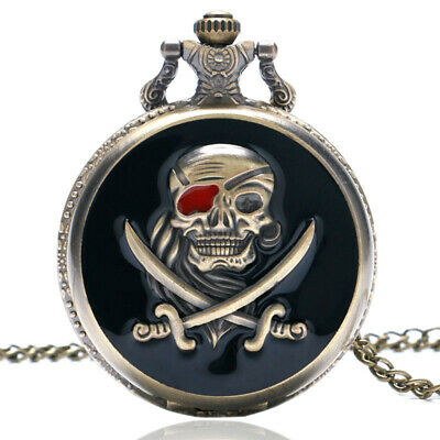 Cool Pirate Pattern Pocket Watch Full Hunter Necklace Chain Watch Full Hunter