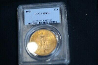 1924 Double Eagle, $20 Gold St Gaudens MS 64 ** PCGS Cert., Premium Quality!