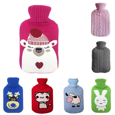 AU_ BL_ 2L Large Hot Water Bag Bottle Knitted Cover Case Warm Keeping Coldproof
