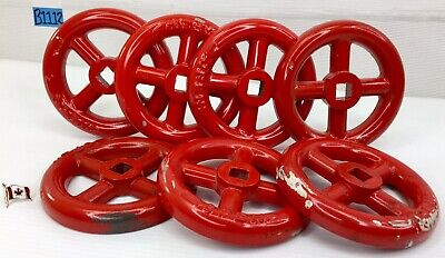 "Lot Of 7 Round Metal Red Water Valve Handles Italy 107 4"" B1112"