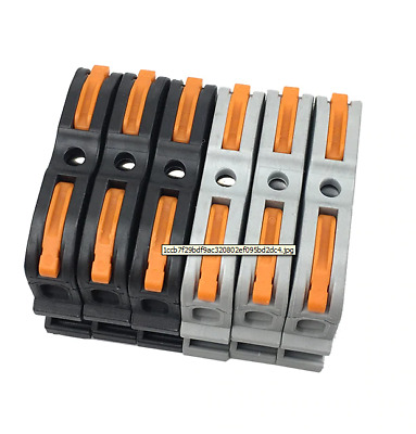 Pin Din Rail Connector Terminal Block with Lever 10PCS BLACK 400V 24A [UK STOCK]
