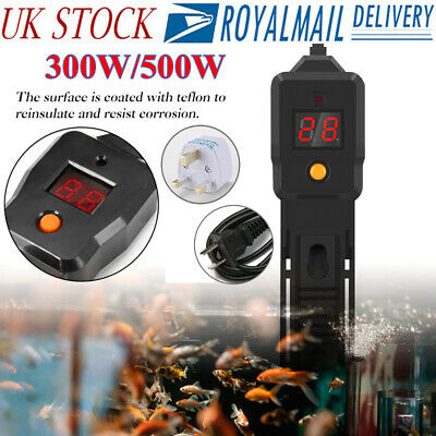 300W/500W Mini LED Aquarium Submersible Fish Tank Thermostat Water Heater Rod UK
