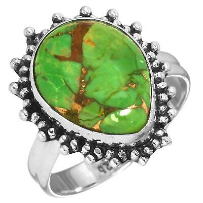 Solid 925 Sterling Silver Collectible Ring Copper Green Turquoise Size 9 tn45680