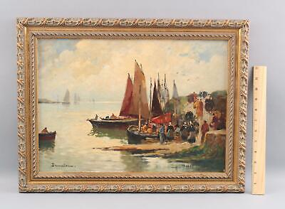 Antique EUGENE DEMESTER French Impressionist Coastal Boat Harbor Oil Painting NR