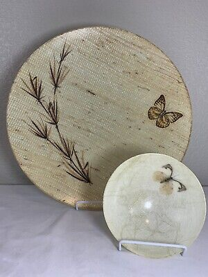 """2 Vintage Mid Century Fiberglass Butterfly Serving Bowl 15"""" 5.5"""" Chips Display"""