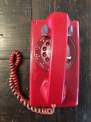 VINTAGE ITT RED ROTARY DIAL WALL MOUNT TELEPHONE Working