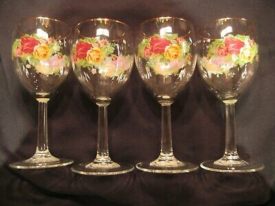 Royal Albert Old Country Roses 12 oz Wine Glasses Set of 4 NWT