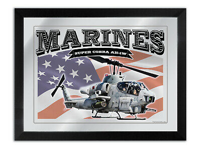 Bar Mirror To Suit U.s Marines Super Cobra Ah-1W Helicopter American Flag