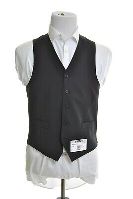 DKNY Mens Classic Fit Black Striped 5 Button 100% Wool Suit Vest
