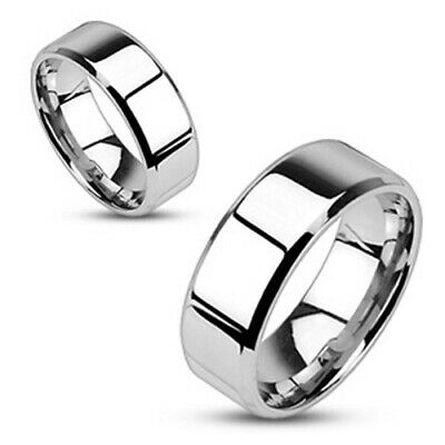 One Stainless Steel Mirror Polished Flat Band with Beveled Edge Ring M0006