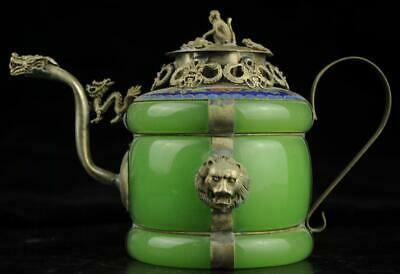 China old jade inlay cooper-plating silver carve monkey and dragon teapot b01