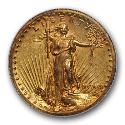 1907 High Relief Saint Gaudens Wire Rim $20 NGC AU 58 CAC Approved