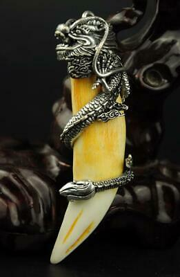 chinese old animal teeth inset Tibet silver hand engraving dragon pendant a01