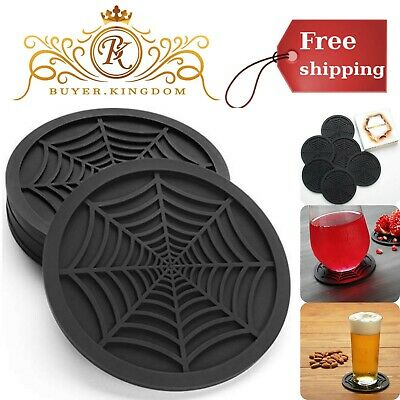 """Silicone Coasters 4"""" Elevated Pattern Design With Edge Lip Black Set 6 Pack New"""