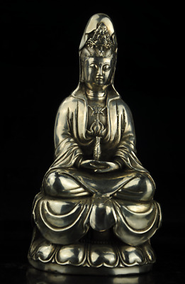 China old Copper Plating Silver Casting KWAN-YIN Buddha Statue/qianlong mark f02