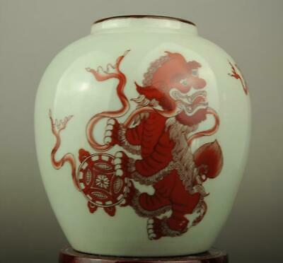 China old hand-made red glaze porcelain lion pattern teapot /yongzheng mark c01