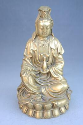 Chinese Old feng shui copper GuanYin Kwan-Yin Hold Vase Seat Statue f01