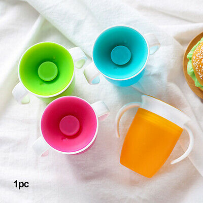 Cup With Double Handle Safe Infant Trainning Flip Lid Water Bottle Leakproof