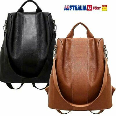 AU Women's Leather Anti-Theft Rucksack Backpack School Shoulder Bag Black/BrownN