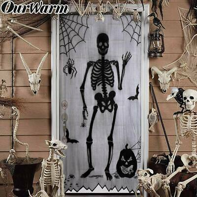 Halloween Lace Window Curtain Skull Spooky Haunted House Prop Event Party Supply