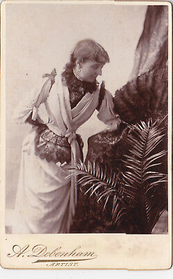Very Unusual Pose London Lady Showing  No Arms Antique Cabinet Card  Photograph