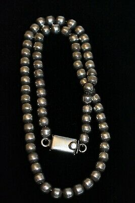 Vintage Sterling Silver Hand Made Mexico Barrel Bead Necklace ~ TM-196 Mexico