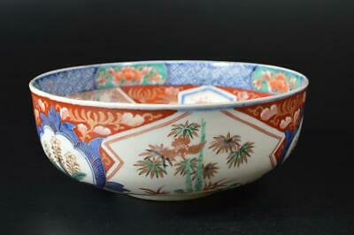 T9376: Japanese Old Imari-ware Colored porcelain Kashiki DESSERT BOWL/dish