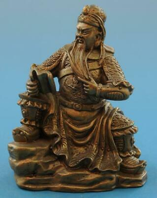 Chinese old fengshui copper hand-carved Guan Yu read book statue e01